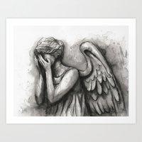 Weeping Angel Watercolor Doctor Who Art Art Print
