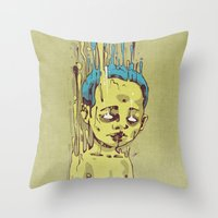 The Golden Boy with Blue Hair Throw Pillow