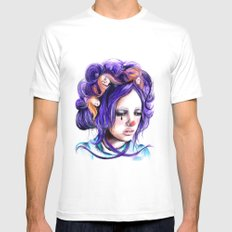 Dolls in her hair, Forest of Dolls Collection SMALL Mens Fitted Tee White
