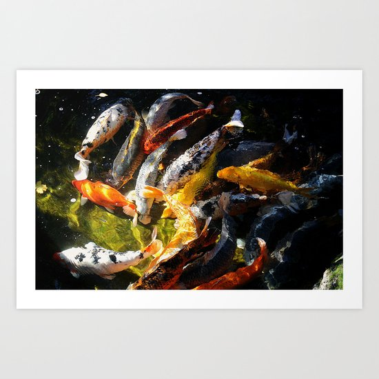 Koi fish abstract art print by arts and herbs society6 for Koi fish paintings prints
