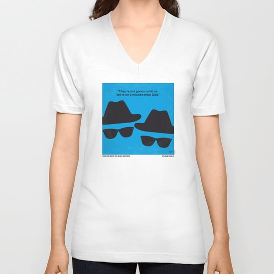 No012 My Blues brothers minimal movie poster V-neck T-shirt