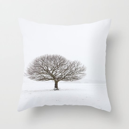 Tree in the Snow Throw Pillow