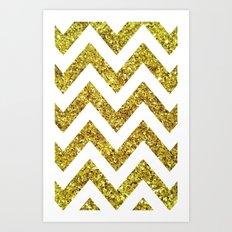 GOLD GLITTER CHEVRON Art Print