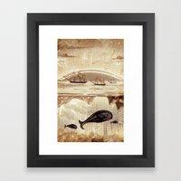 Paper II :: Whales/ships… Framed Art Print