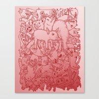 Pig Pile-Up! (splash-0-color edition) Canvas Print