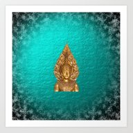 Golden Buddha In Blue Pa… Art Print
