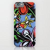 tropical flowers blue iPhone 6 Slim Case