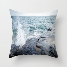 Rough waters- color  Throw Pillow