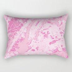 New York Map - Pink Rectangular Pillow