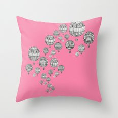 balloons in the pink Throw Pillow