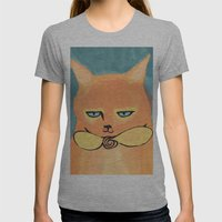Orange Cat Womens Fitted Tee Athletic Grey SMALL