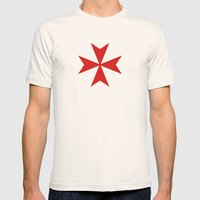 Malta Knights Cross Mens Fitted Tee Natural SMALL