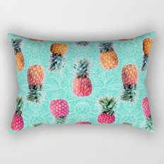 From Pineapple to Pink - tropical doodle pattern on mint Rectangular Pillow