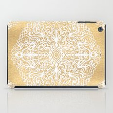 White Gouache Doodle on Gold Paint iPad Case