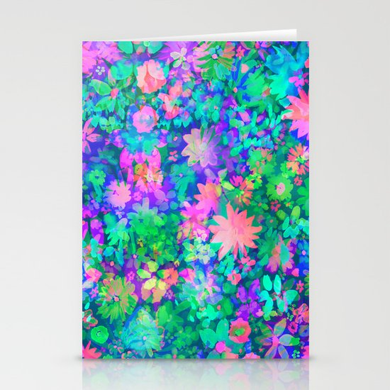 Fluro Floral Stationery Card