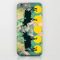 iPhone Cases featuring cows are dreaming of funky mountains by AmDuf
