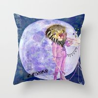 Moonlight Lion Strings  Throw Pillow