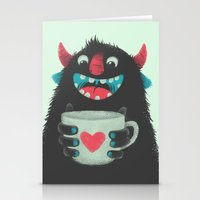 coffee Stationery Cards featuring Demon with a cup of coffee by Lime