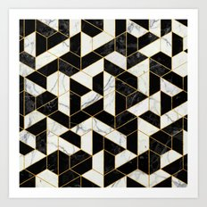 Black and White Marble Hexagonal Pattern Art Print