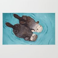 Rug featuring Otterly Romantic - Otter… by When Guinea Pigs Fly