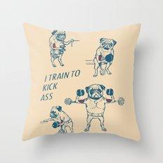 Pug Workout Throw Pillow