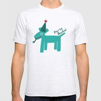 Party Animal-Teal Mens Fitted Tee Ash Grey SMALL