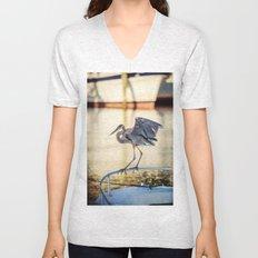 Blue Heron Pole Walker Unisex V-Neck