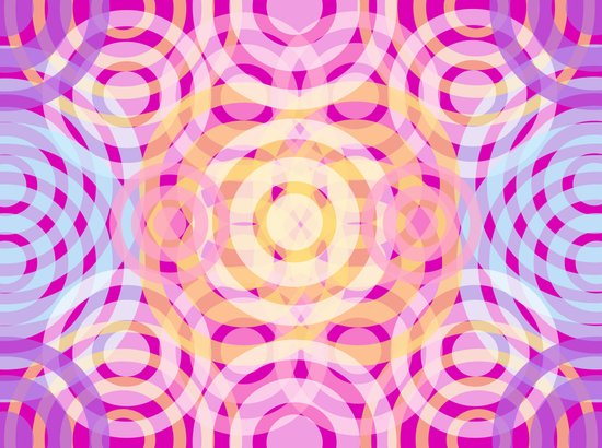 Wave Pattern Bright Pink Art Print