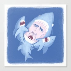 Nic Cage is Sharks! Canvas Print