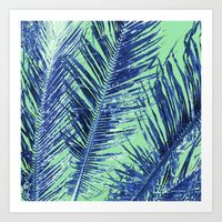 Tropical Palm Blue Art Print