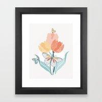 Butterflies And Tulips I Framed Art Print