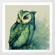Art Print featuring Green Owl by Teagan White