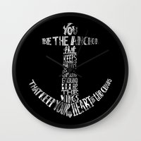 You be the anchor (B & W version) Wall Clock