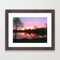 Sunset on St. Mary's Lake Notre Dame Framed Art Print