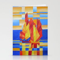 Sailing on the Seven Seas so Blue Cubist Abstract  Stationery Cards
