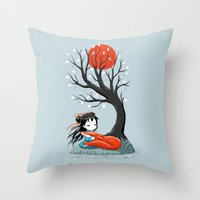 Girl and a Fox 2 Throw Pillow