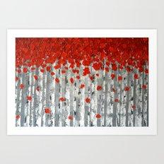 Red Birch Trees Art Print