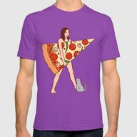 Play The Pizza Mens Fitted Tee Ultraviolet SMALL