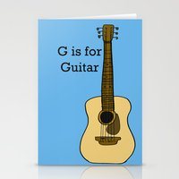 G is for Guitar Stationery Cards