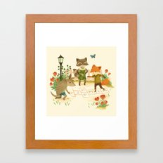 Hopscotch with Critters Framed Art Print