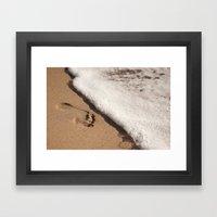 Foot print in the sand Framed Art Print