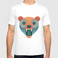 Geometric Bear Mens Fitted Tee White SMALL