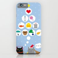 iPhone & iPod Case featuring Santa Cat by Mendelsign