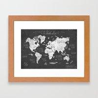 The World Map B/W Framed Art Print