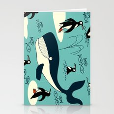 Whales and penguins Stationery Cards