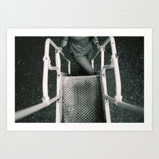 Girl Going Up Stairs Art Print