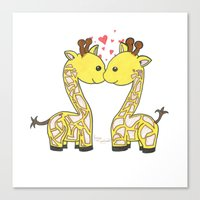 Giraffes In Love Canvas Print