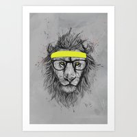hipster Art Prints featuring hipster lion by Balazs Solti