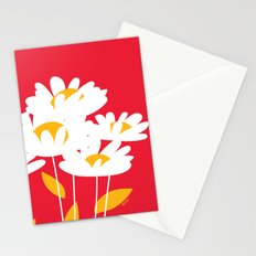 Flowers on Red by Friztin Stationery Cards
