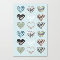 Vintage Hearts  Canvas Print